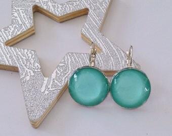 Blue Opal round earrings