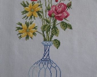 Bouquet in blue vase cross stitch Embroidery