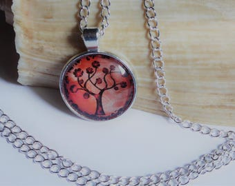 Red tree cabochon silver pendant necklace