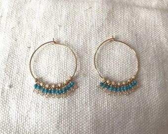 Earrings turquoise hoop earrings