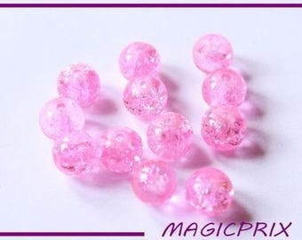 SET of 30 BEAD cracked pink o8 m222 mm
