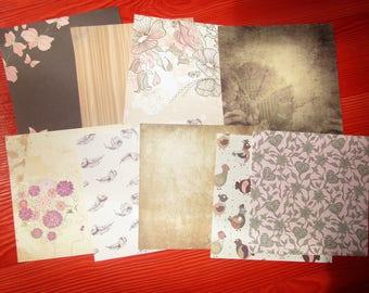 set of 9 paper square Brown nature theme 15 x 15 cm