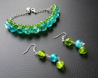 Beaded set with bracelet and earrings