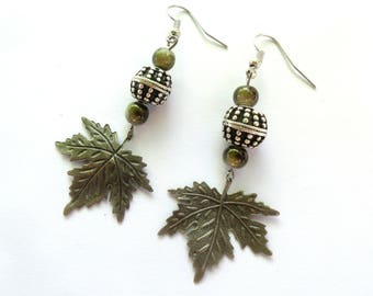 Silver and green maple leaf earrings