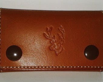 Vegetable leather key case smooth Tan