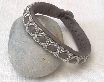 Dove gray leather Sami bracelet