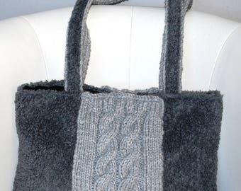 Handbag grey faux fur / knit with cables