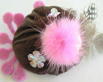 "Brown rose brooch Pink Mink pompom, feathers ""yoyo"""