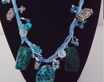 Funky Blue and Turquoise Beaded Necklace