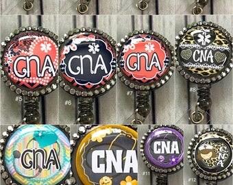 Rhinestone CNA Certified Nurses Assistant Certified Nursing Assistant Retractable ID badge reel