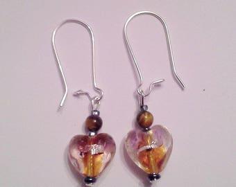 Heart Earrings glass and Tiger eye bead