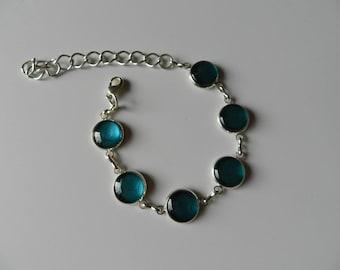 Bracelet cabochon blue/green glass Pearl.