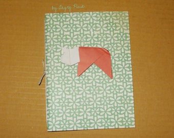 Journal green and white Handmade flowers with red origami pig
