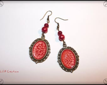 Red and bronze earrings hand painted