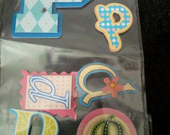 6 STICKERS 3D EMBOSSED STICKERS PLATE LETTER P