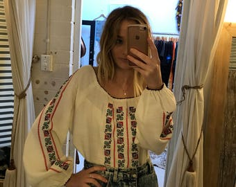 1970's embroidered vintage blouse