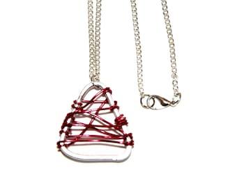 Handmade necklace with triangular pendant - aluminum-