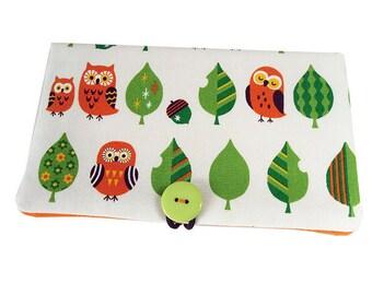 Checkbook ° ° Orange owls fabric tree green and white cotton