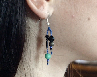 Pearl Earrings and blue cotton - pendant - fine cotton and blue beads and Silver earrings earrings