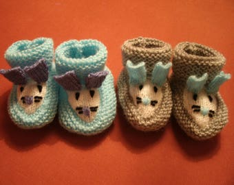 """mouse head"" newborn slippers 2 pairs to choose: blue or gray"
