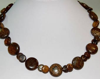 Precious stone chain from Bronzite slices, about 46 cm long