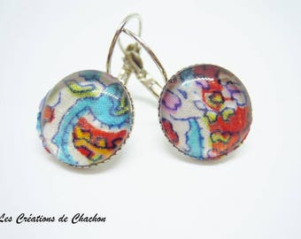 Earrings sleepers liberty blue multicolor cabochon