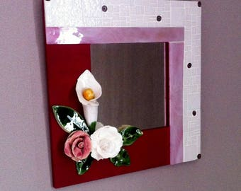 Mirror mosaic and porcelain flowers