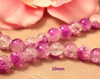 Lot of 10 purple 10 mm cracked glass beads