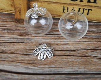 1 pendant with bail 20mm glass Globe Fleur silver paste