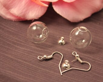 Silver 16mm glass Globe earrings 5 pairs