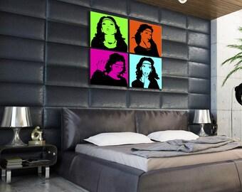 Quadriptyque Andy Warhol on canvas 4 photos standard frame 40x40cm