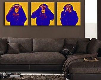 Triptych monkeys pop art yellow and purple 3 x (30 x 30)