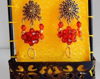 """Fancy """"balls Inca Sun"""" earrings"""