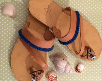 SALE ON - 40% off Greek Leather Sandals, Leather Sandals, Handmade, Pom Pom