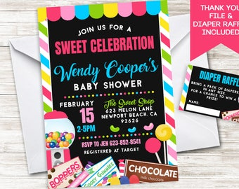 Candy Baby Shower Invite Invitation Digital Sprinkle 5x7 Candyland Candy land Pink Sweet Shoppe