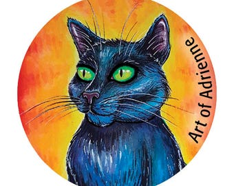 Black Cat Button, Cat Lady Pin, 10% Humane Society Donation - 1.5""