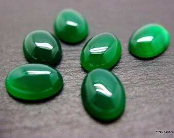 1 cabochon green agate 18 x 13 mm