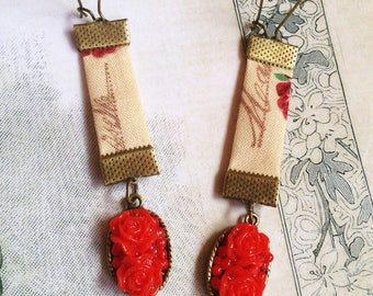 Earrings sleepers printed cotton shabby red flowers