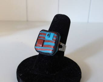 Square ring chocolate turquoise stripes