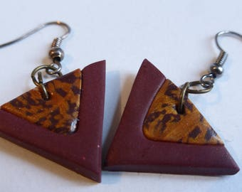 Earrings ethnic brown gold triangle