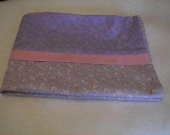 Purple flowered pillow case