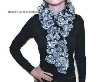 Fancy ruffled fabric scarf knitted handmade scarf