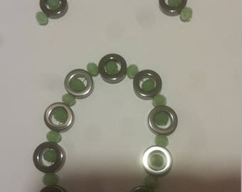 Green and Silver Bracelt and Earring Set