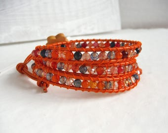 Bracelet type chan luu wrap bracelet with agate/Orange