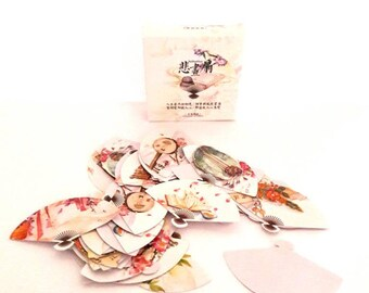 Paper stickers Japanese fans 45 pieces