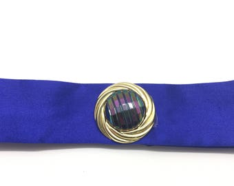 Blue satin with gold beading and bright stone Choker.