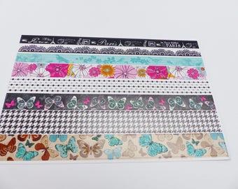 Board of 8 strips adhesive 20 centimeter butterflies birds flowers paris stickers stickers