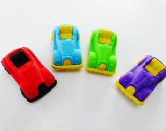 Fun set of 4 erasers car supply kit