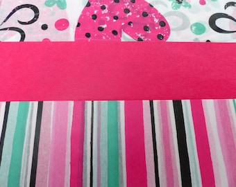 3 sheets of paper decopatch 40 X 60 cm red pink green heart stripe
