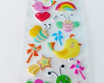 Board of 15 stickers embossed effect fabric small animals cute bird butterfly and Sun Rainbow Caterpillar